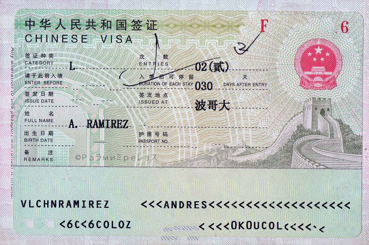 Visa for entering China.